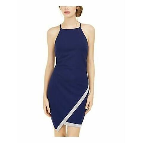BCX Womens Blue Sleeveless Short Body Con Cocktail Dress Size L