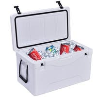 Costway Outdoor Insulated Fishing Hunting Cooler Ice Chest Heavy Duty 64 Quart White