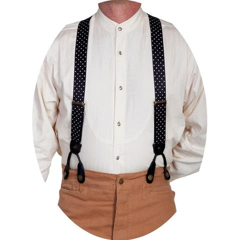 Scully Western Suspenders Mens Polka Dots Elastic Fun Black - One Size