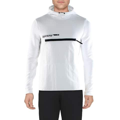 Reebok Mens Speedwick Hoodie Sweatshirt Fitness - White