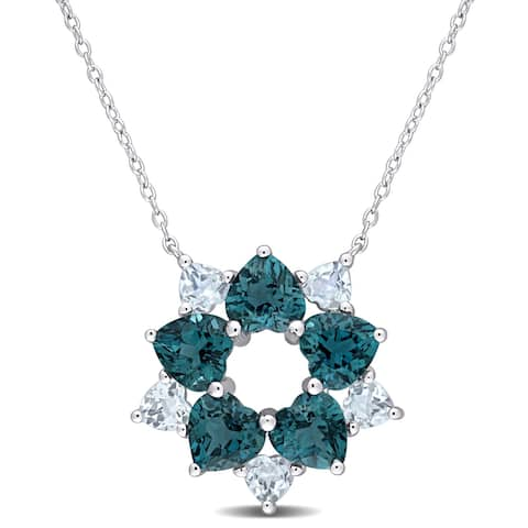 Miadora Sterling Silver London and Sky-Blue Topaz Floral Station Necklace