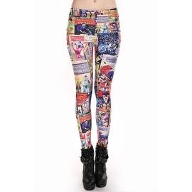 Fashion Lady Pattern Printed Batman Comic Stretch Tight Leggings Skinny Pants