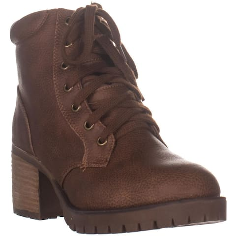 MIA Jonel Lace Up Heeled Ankle Boots, Luggage