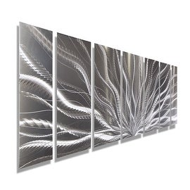 silver abstract etched metal wall art sculpture by jon allen galactic expanse