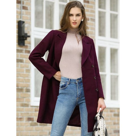 Women's Double Breasted Notched Lapel Winter Long Trench Coat - Burgundy