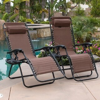 BELLEZE Patio Outdoor Zero Gravity Lounge Chairs Mobile Device Slot Brown Chair Pack W Cup Holder Dry Mesh