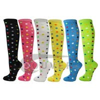 Polka Dots Ladies Colorful Variety Design Assorted Knee High Stocking Socks(6 Pairs)