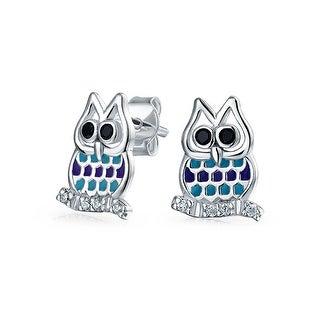 Bling Jewelry .925 Sterling Silver Enamel Cubic Zirconia Owl Stud Earrings