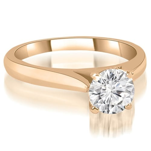 0.50 cttw. 14K Rose Gold Cathedral Solitaire Round Cut Diamond Engagement Ring