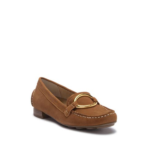 Anne Klein Womens Harmonie Leather Almond Toe Loafers