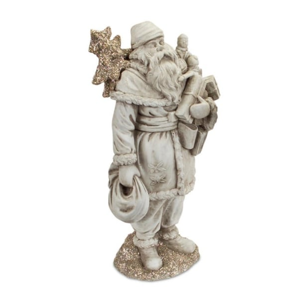 "15.25"" Antique-Style Gray Santa Claus Christmas Figure Carrying Presents and a Silver Glittered Tree"