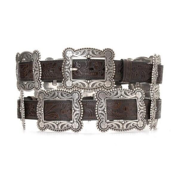 Nocona Western Belt Womens Concho Mocha Antique Silver