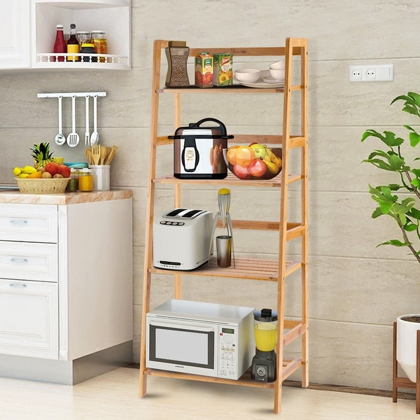 Costway Multifunctional 4 Shelf Bamboo Bookcase Ladder Plant Flower - 19''x12.5''x47.5''. Opens flyout.