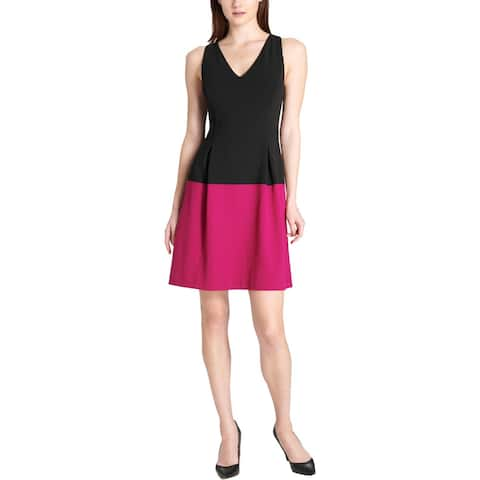 Tommy Hilfiger Womens Scuba Dress Sleeveless Colorblock