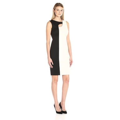 Calvin Klein Color Block Scuba Sheath Dress with Neck Cut Out Black White 4