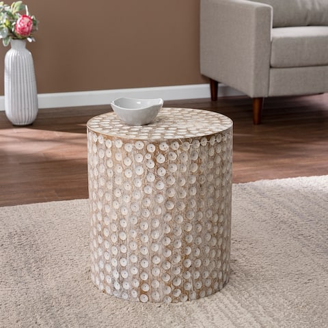 Carbon Loft Calahan Eclectic White Wood Accent Table