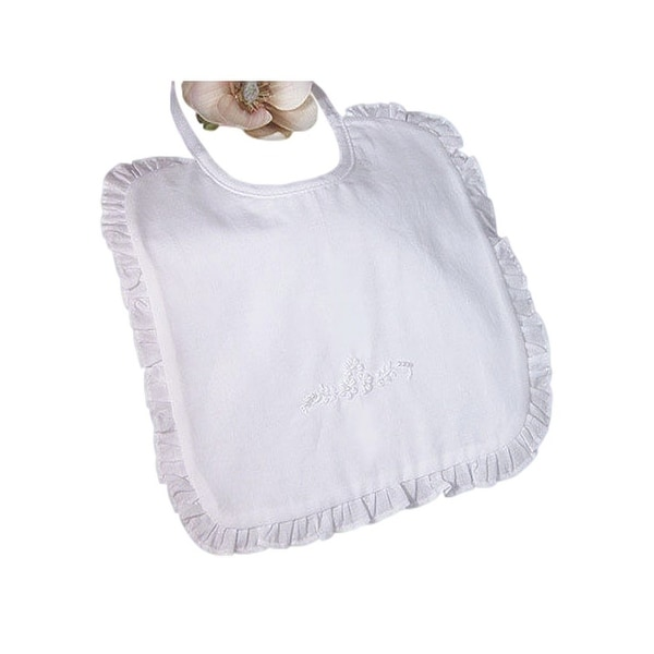 Little Things Mean A Lot White Cotton Embroidered Ruffled Bib - One size