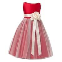 Sweet Kids Little Girls Red Ivory Floral Accent Flower Girl Dress 2T-6