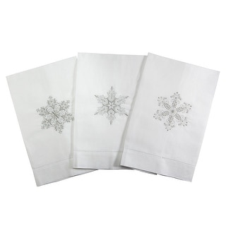 Silver Snowflake Embroidered Tea Towel in 3 Style Options