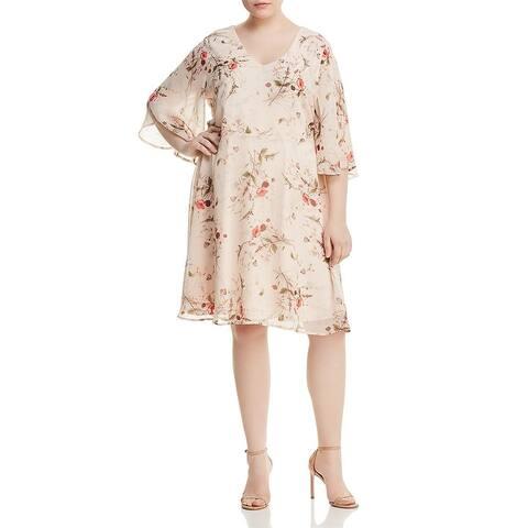 Bobeau Womens Plus Brooker Casual Dress Daytime Floral