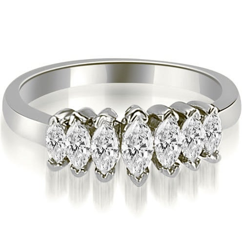 1.01 cttw. 14K White Gold Marquise Diamond 7-Stone Wedding Band