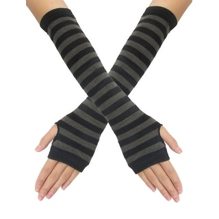 Unique Bargains Dark Gray Stripes Black Knitted Lady Fingerless Gloves Pair