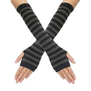 Unique Bargains Dark Gray Stripes Black Knitted Lady Fingerless Gloves Pair