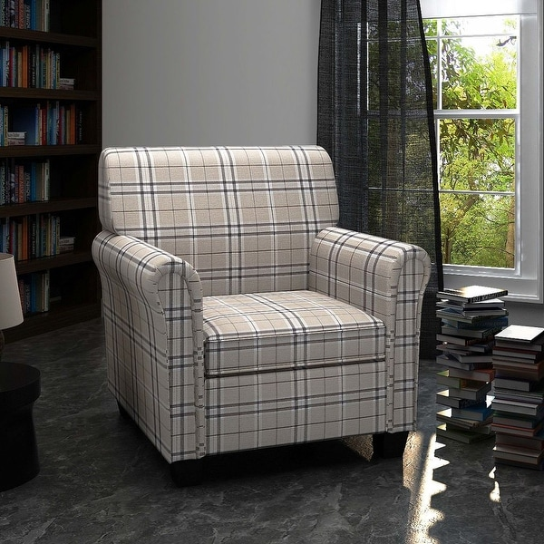 vidaXL Sofa Chair Armchair Fabric Cream Seat Cushion
