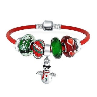 Bling Jewelry 925 Silver Snowman Christmas Snowflake Charm Bead Bracelet With Enamel Glass Charm