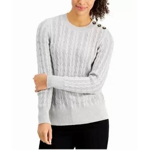 Charter Club Womens Sweater Medium Shimmer Pullover