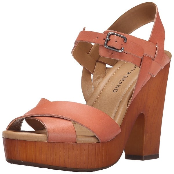 Lucky Brand Womens Nova Leather Peep Toe Special Occasion Ankle Strap Sandals