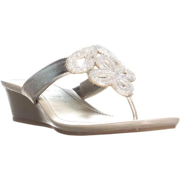 Shop Bandolino Bessie Front Beaded Flora Wedge Slip On Sandals ... 85135697a85e