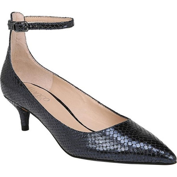 83151ab51ac1 Franco Sarto Women  x27 s Dolce Ankle Strap Pump Midnight Diamond Snake  Print Leather