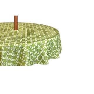 "Fresh Spring Green Lattice Zippered Round Umbrella Tablecloth 60"" Diameter"