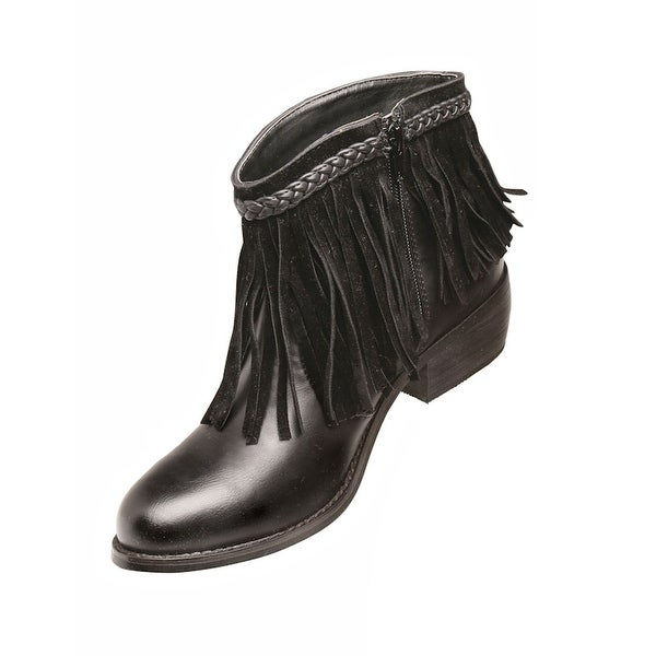 Women's Fun Fringe Leather Short Ankle Bootie