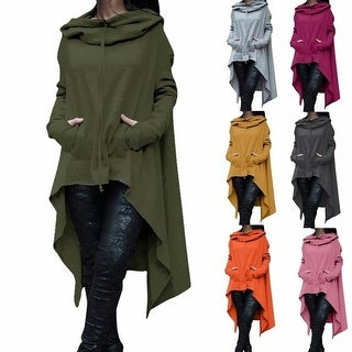 Women's Fashion Solid Color Draw Cord Coat Long Sleeve Loose Casual Poncho Coat