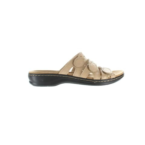 Clarks Womens Eisa Cact Nude Leather Sandals Size 10