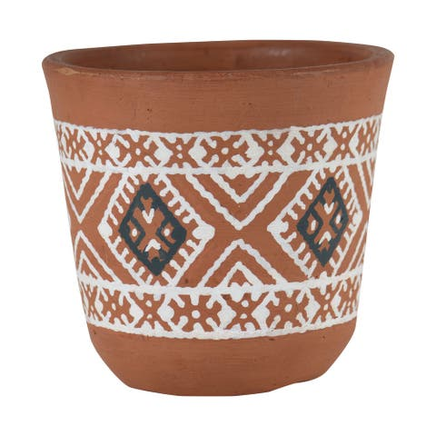 Foreside Home & Garden Natural Handthrown Terracotta Planter with White Southwest Pattern