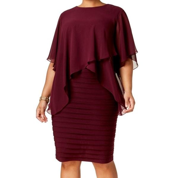 Betsy & Adam Red Womens Size 18W Plus Sheer Popover Sheath Dress