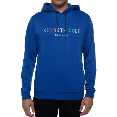 Kenneth Cole Reaction Mens Sweater Blue Size Medium M Logo Hooded