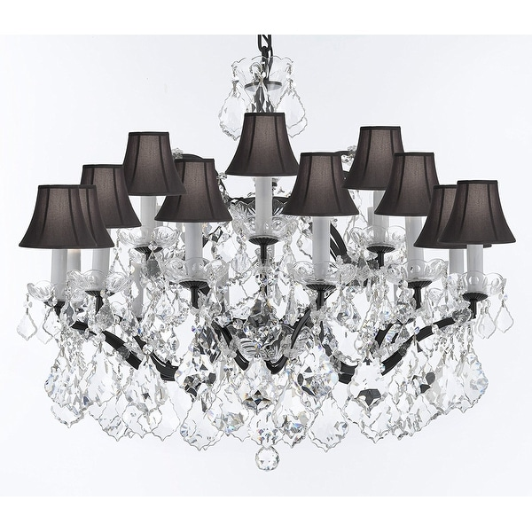 C Rococo Iron Amp Crystal Chandelier With Black Shades