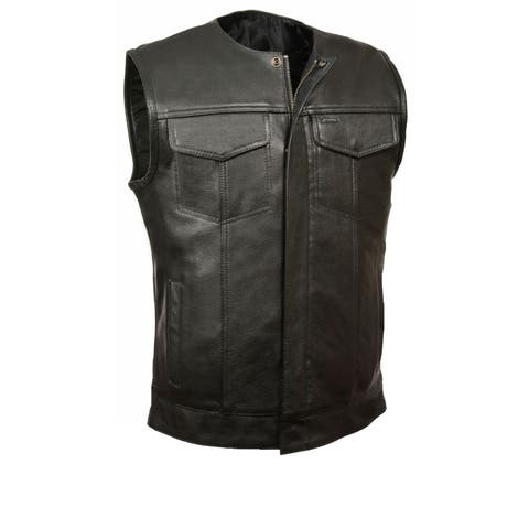 Mens Leather Snap / Zip Collarless MC Vest