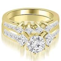 2.85 cttw. 14K Yellow Gold Channel Set Princess and Round Cut Diamond Bridal Set