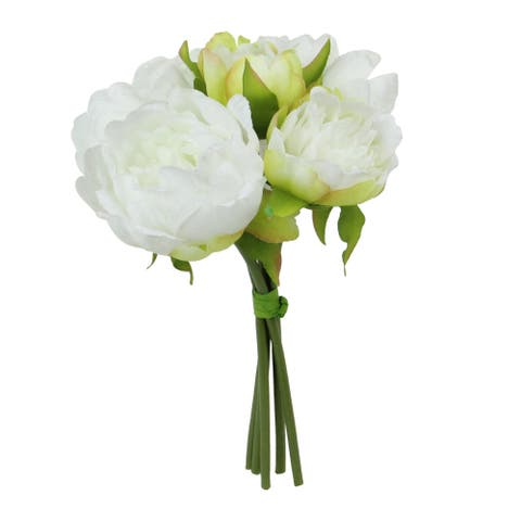 """9.5"""" White Peony With Yellow Accents And Green Petal Leaves Floral Bouquet - N/A"""