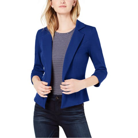 maison Jules Womens Solid Blazer Jacket, blue, X-Large