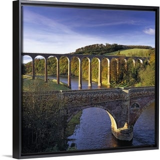 """""""Bridge and viaduct crossing the River Tweed near Melrose"""" Black Float Frame Canvas Art"""