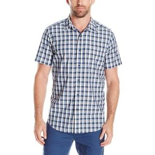 Nautica NEW Blue White Mens Size Large L Button Down Plaid Shirt