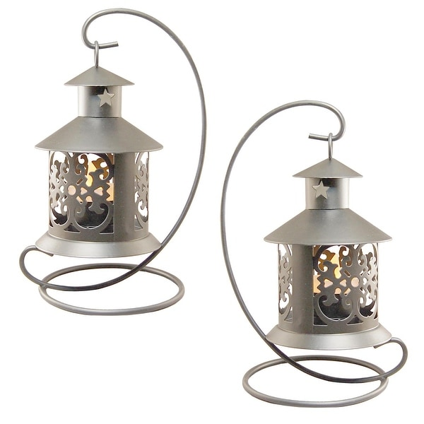 Outdoor Hanging Lanterns With Stand: Shop Set Of 2 Pewter Table Top Metal Lanterns With Hanging