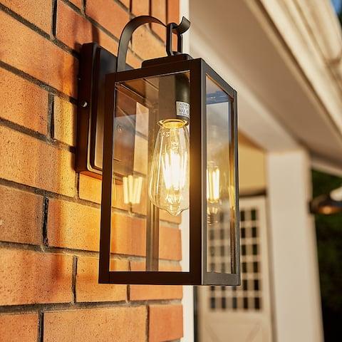 """1-Light Outdoor Wall Light Sconce Matte Black Lantern - 5""""x6.7""""x13.78"""""""