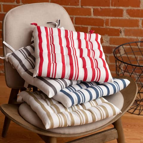 Fabstyles Tufted Set of 4 Broadway Stripe Cotton Chairpads with Ties - 16x16